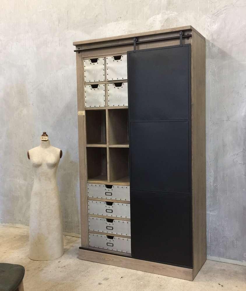 Boekenkast Industrieel Marktplaats   u2265 grote industri u00eble boekenkast met ladder grenen met metaal
