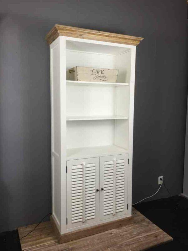 Smal Wit Boekenkastje.Landelijke Boekenkast Wit Met Shutters Ans Woonshop