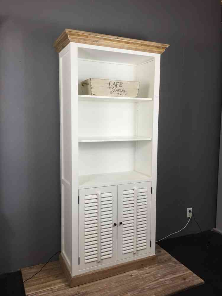 landelijke boekenkast wit shutters 100 cm