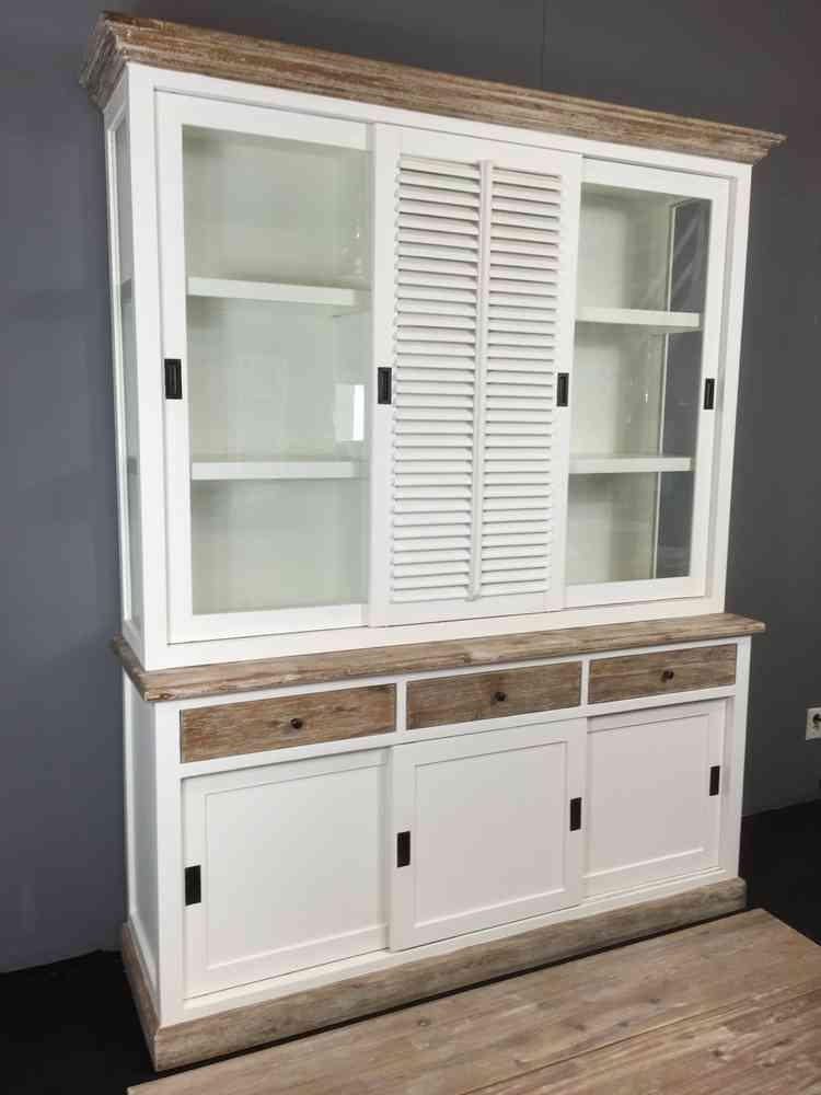 Landelijke witte vitrinekast 3 laden, shutterdeurtje 180 cm  AW 1019 laden    Ans Woonshop