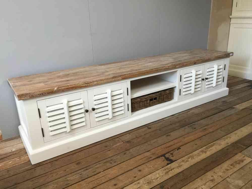 Landelijk wit tv meubel met shutters en mand  220 cm  AW1028   Ans Woonshop