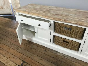 Landelijk wit hoog TV-meubel