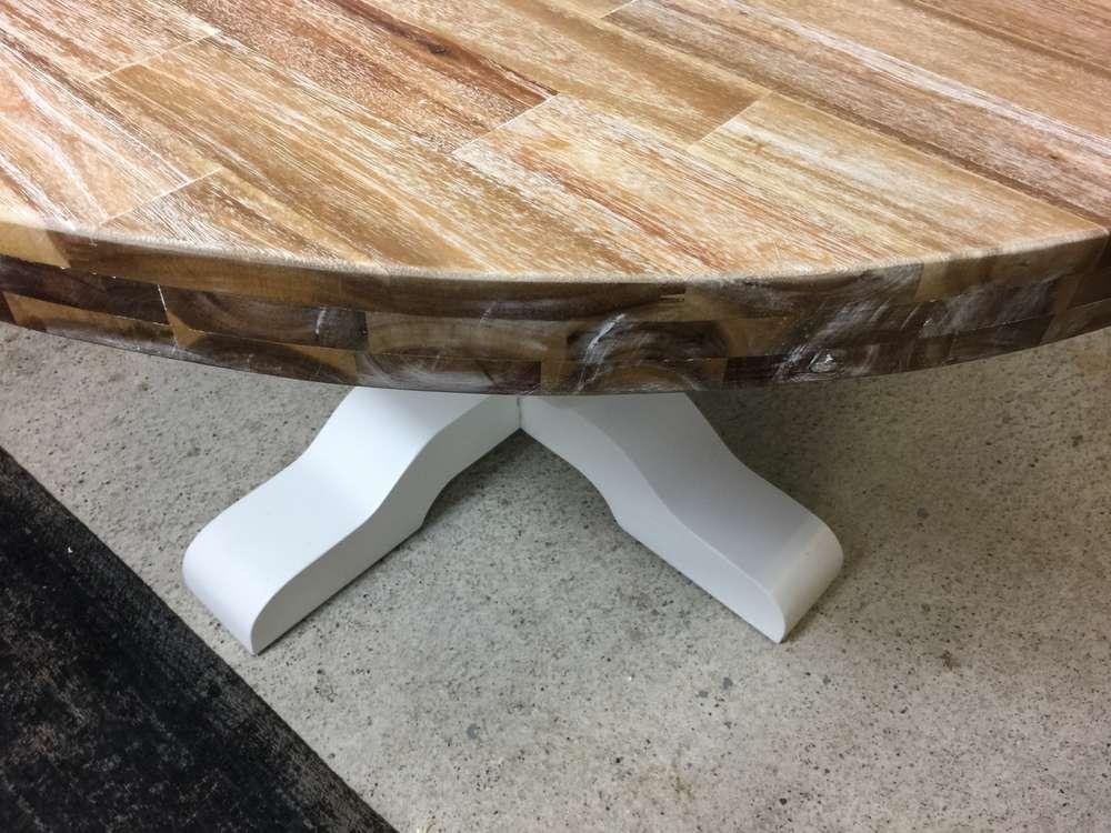 Landelijke ronde tafel doorsnee 140 cm voorraad ans woonshop
