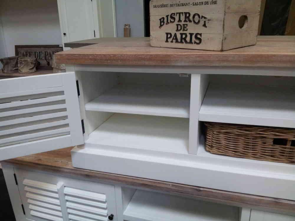 Landelijk wit tv meubel, shutters, 120 cm  AW1017   Ans Woonshop