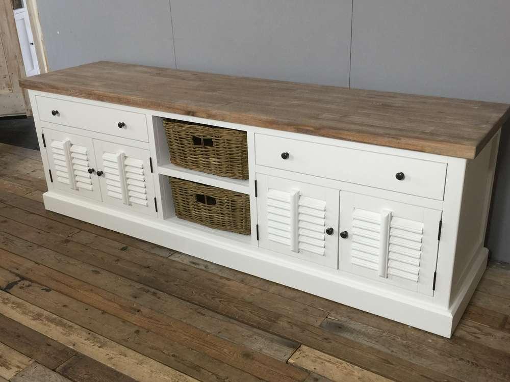 Landelijk wit, hoog tv meubel, shutters, 200 cm - Ans Woonshop