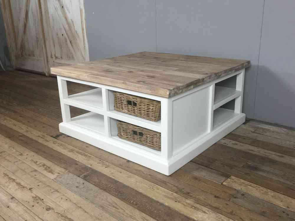 Landelijke witte vierkante salontafel, 95cm  eind nov  leverbaar    Ans Woonshop