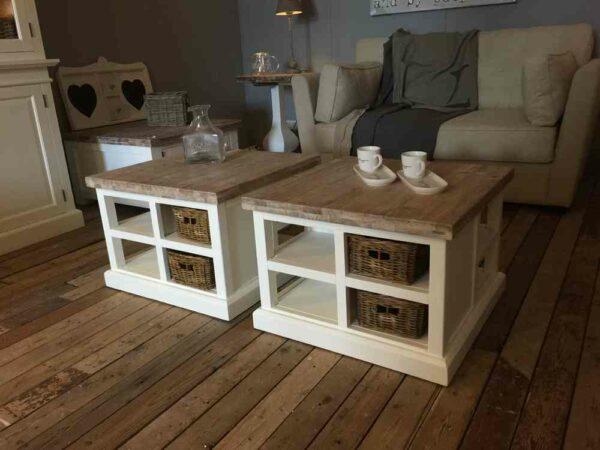 Vierkante witte salontafel