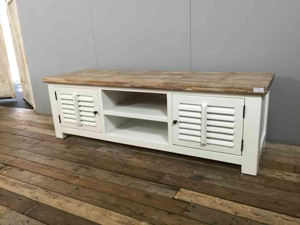 landelijk wit tv meubel shutters 160 cm aw1002 dec leverbaar ans woonshop. Black Bedroom Furniture Sets. Home Design Ideas