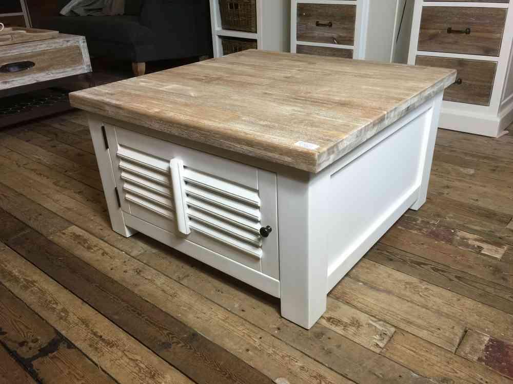 Landelijke vierkante salontafel met shutters  AW1025  begin Nov  leverbaar   Ans Woonshop