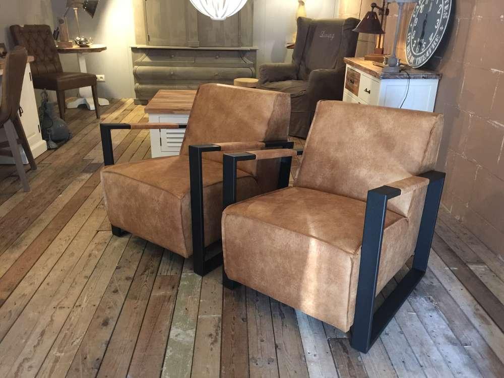 Fauteuils landelijk of industrieel op voorraad ans woonshop for Industrieel fauteuil