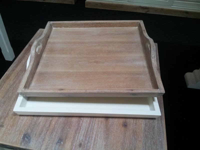 Dienblad hout, wit of houtkleur - Ans Woonshop